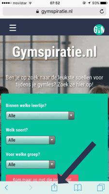 Gymspiratie toevoegen aan je iPhone - Stap 1