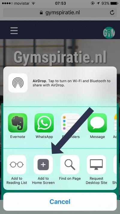 Gymspiratie toevoegen aan je iPhone