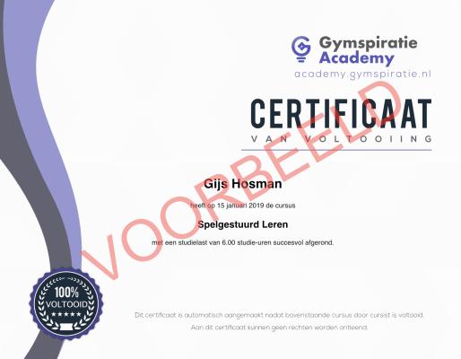 Gymspiratie Academy: Certificaat Voorbeeld